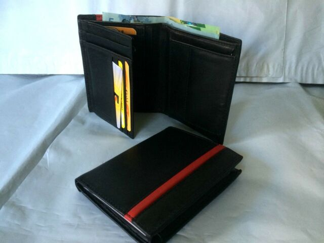 Mens Wallet w/ 8 Credit Card & Coin Holder -Black A104E
