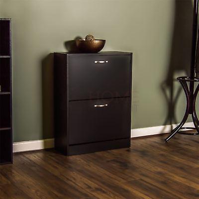 2 Drawer Shoe Cabinet Storage Cupboard Footwear Stand Rack Wooden Unit Black New
