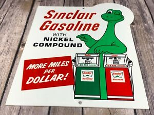 VINTAGE-SINCLAIR-GASOLINE-W-DINO-DINOSAUR-GAS-PUMP-12-034-METAL-GASOLINE-OIL-SIGN