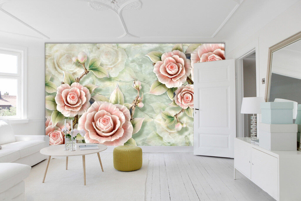3D FLOWER jade carving Wall Paper wall Print Decal Decal Decal Wall Deco Indoor wall Mural 18d94f