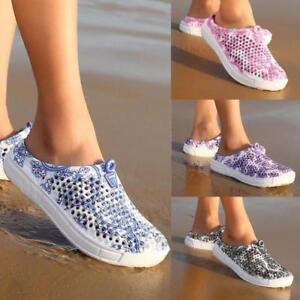 Details about Women Summer Slip on Beach Sandals Breathable Slippers Hollow out Flats Shoes