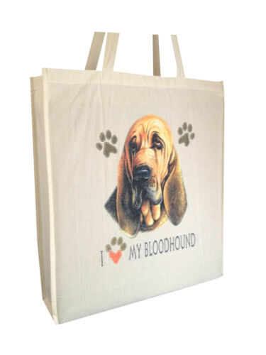 Bloodhound Reusable Cotton Shopping Tote Bag with Gusset /& Long Handles