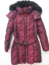 Women's Burberry Brit Puffer Coat/Jacket  Color ALIZARIN CRIMSN Size XS Fox Fur