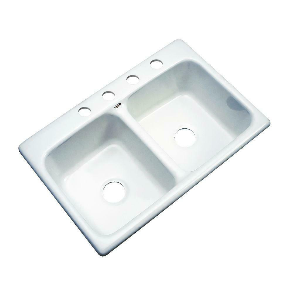 Thermocast Newport 33 In. X 22 In. X 9 In. White Cast Acrylic Double Bowl Kitchen Sink