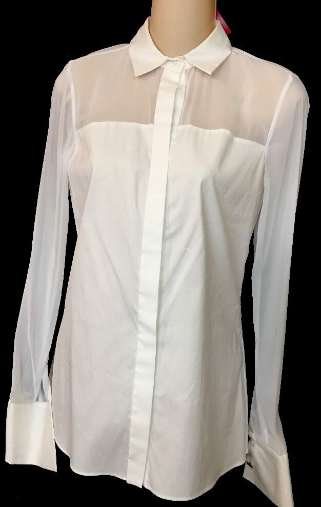 Alice And Olivia Weiß Cotton Stretch Sheer Sleeves Größe Extra Small Nwt