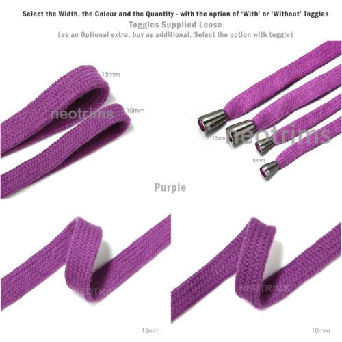 Corde cordon plat en coton pour sweat shirt avec embout métallique Neotrims