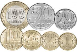 Kazakhstan-1-2-5-10-20-50-100-tenge-2005-2017-Full-Set-7-Pcs-UNC