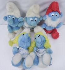 """Vintage Lot 5 SMURFS Stuffed Plush Papa Smurfette Medium 8"""" Smurf Peyo 80s"""