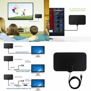 TV-Antenna-HDTV-Flat-HD-Digital-Indoor-Amplified-50-Miles-Range-TVFox-VHF-UHF-EU
