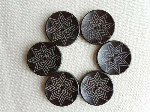 LUXURY LARGE COFFEE BROWN BUTTONS CARVED PATTERN UK 35mm ROUND NATURAL