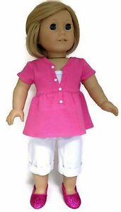 """Hot Pink Top /& White Capri Outfit fits 18/"""" American Girl Doll Clothes"""