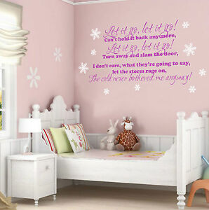 Image Is Loading LET IT GO LYRICS FROZEN WALL STICKER QUOTE