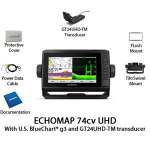 Garmin ECHOMAP UHD 74cv Chartplotter/Fishfinder with GT24UHD-TM 010-02335-01