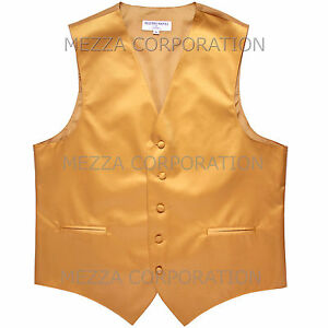New Men's Vesuvio Napoli Tuxedo Vest Waistcoat only prom wedding party Gold