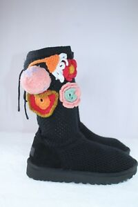 5ff9ed462dc Details about UGG Crochet Classic Women's Side Crochet Floral Boots Black  Model 1095270 Size 7