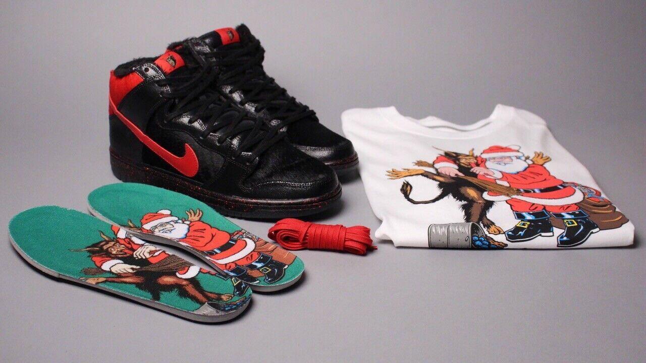 Krampus Nike Dunk High Pro Premium SB Black Gym Red sz 12 Rare w T-shirt