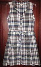 Gap 0 XS S Button Down Shirt Dress Sleeveless Drawstring Madras Plaid Pockets