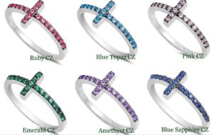 Argent Sterling 925 Sideway Cross design pierres zircon Bagues 9 mm Tailles 4-10