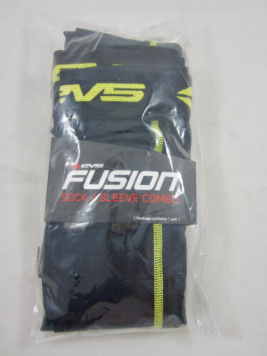 EVS TUG Fusion Combo Over The Knee Socks Liner Black//HIVIS Yellow Adult S//M 7-10