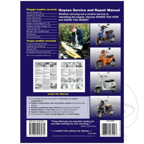 Vespa ET2 50 2T with catalyst 2004-2005 Haynes Service Repair Manual 3492