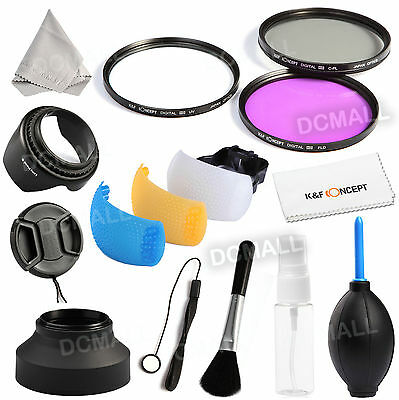 52mm UV CPL FLD Filter Kit Lens Hood Cap Keeper For Nikon D5300 D3300 18-55MM