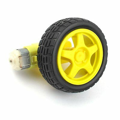2pcs Smart Car Robot Plastic Tire Wheel With DC 3-6v Gear Motor For Arduino