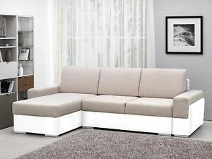 Kleines Ecksofa Mit Schlaffunktion Und Bettkasten Sofa Couch Beige