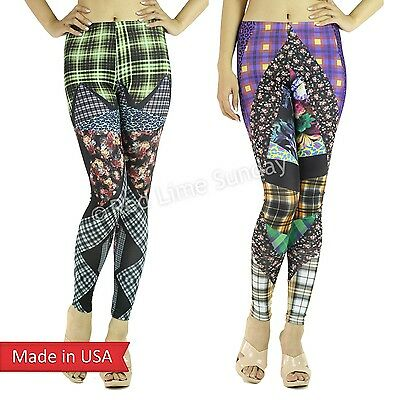 Check Design Animal Leopard Floral Colorblock Stretchy Leggings Tight Pants USA