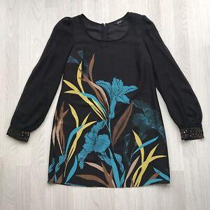 Star-by-Julien-Macdonald-Tunic-Dress-sheer-long-sleeves-Black-uk-14-party-AB