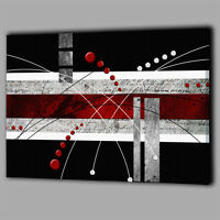 Abstract Design Red Black White Balls Canvas A2 Large Wall Art Picture Photo O56