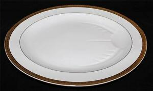Bernardaud-Limoges-SANTEUIL-16-3-4-034-Oval-Platter-w-Juice-Well-Gold-Encrusted