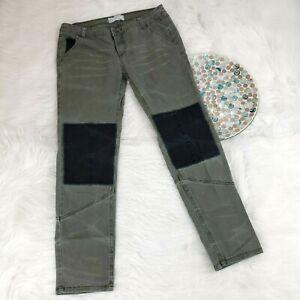 Free People Para Mujer Skinny Pantalones Talla 4 Negro Verde Militar Parches De La Rodilla Elastico Ebay