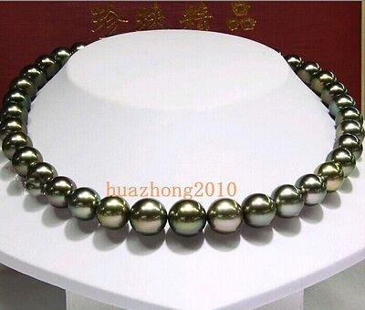 "18"" 10-11MM Tahitian Black Pearl  Necklace AA+ 540"