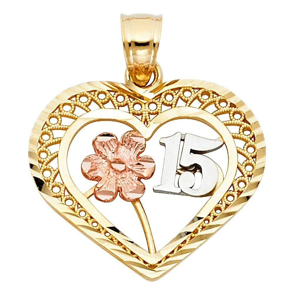 Flower Sweet 15th Anos Heart Charm Quinceanera 14k Tri colord gold 3 4  Pendant