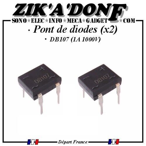 Expédié depuis la France LOT DE 2 Pont de diodes DB107 1A 1000V