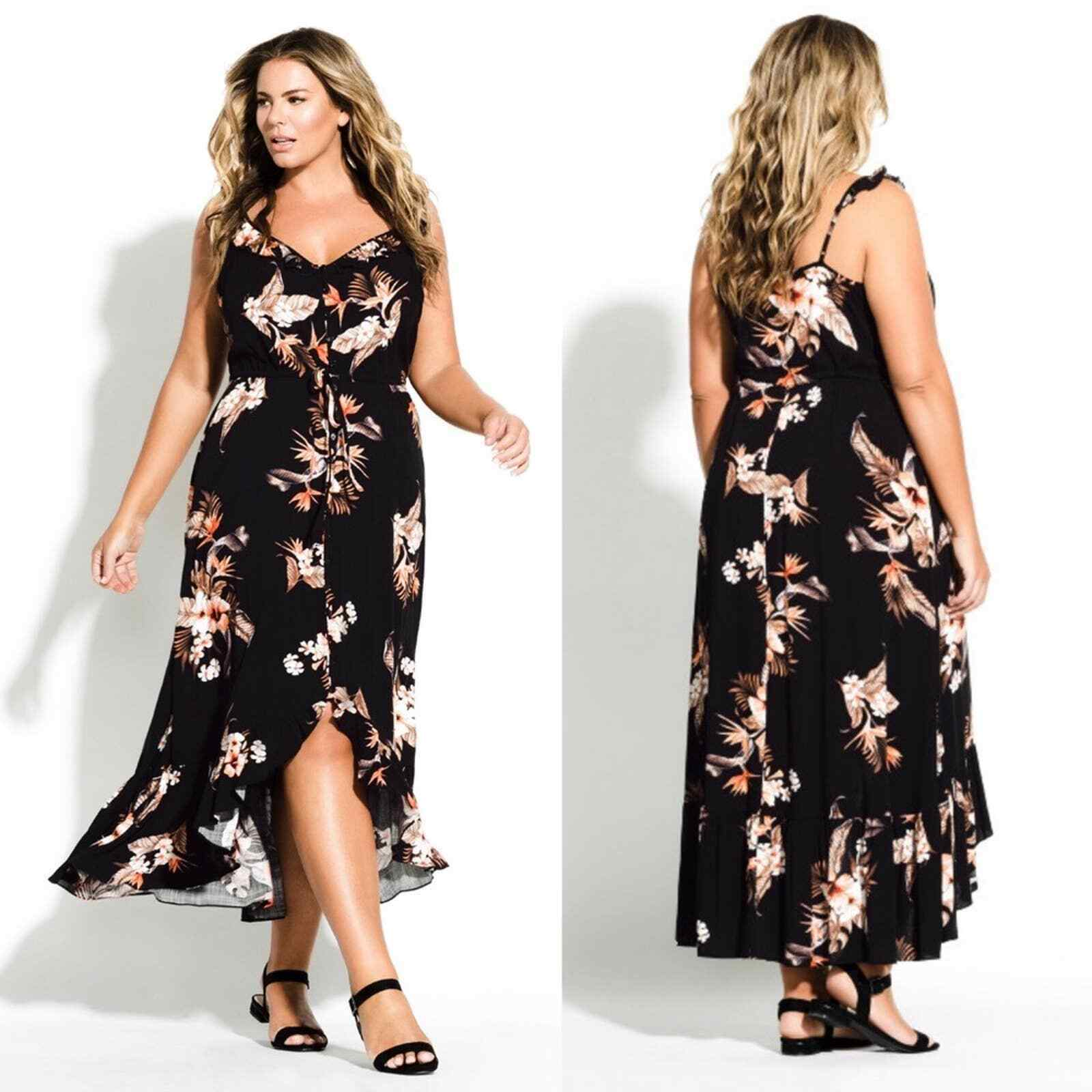City Chic Seville Black Floral Swing Midi Dress - image 2