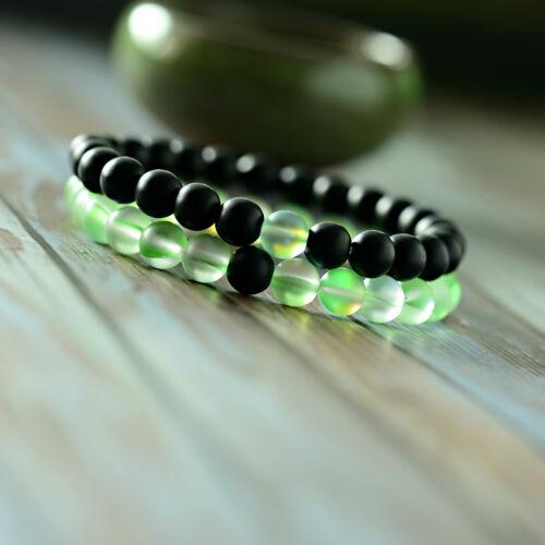 2Pcs Couples Distance Moonstone Stone Bead Lover Men Women Bracelets Jewelry