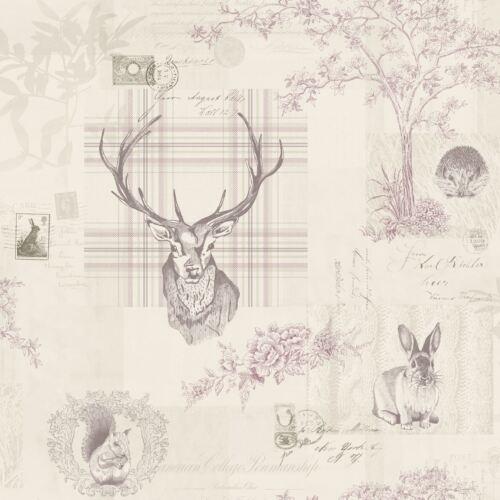 Heather /& Colombe Gris Richmond Highland Stag Papier Peint Holden 50165