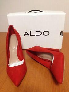 Aldo Red Suede Mirucia Pump Block High