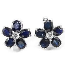 Sterling Silver 925 Genuine Natural Deep Blue Sapphire Flower Stud Earrings