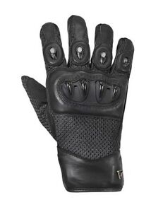 Triumph-Harpton-Gloves-Black-Leather-amp-Mesh-Motorcycle-Gloves-NEW-MGVS17114