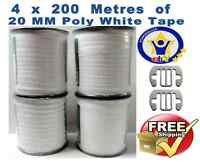 Electric Fence Tape 4 X 200 Metres Fencing 20mm White Poly+free Tape Connectors