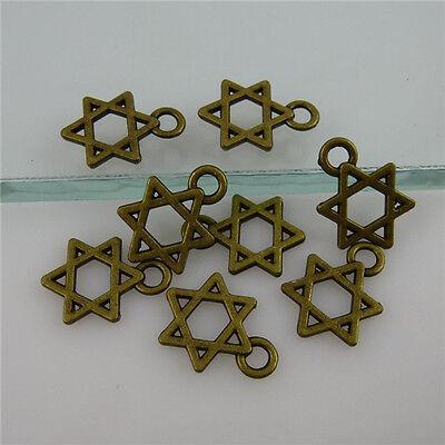 11894/150PCS Vintage Bronze Tone Mini Star Of David Judaism Hexagram Pendant
