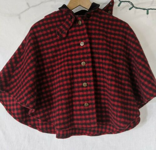 1940's German Red Riding hood plaid wool Girls cap