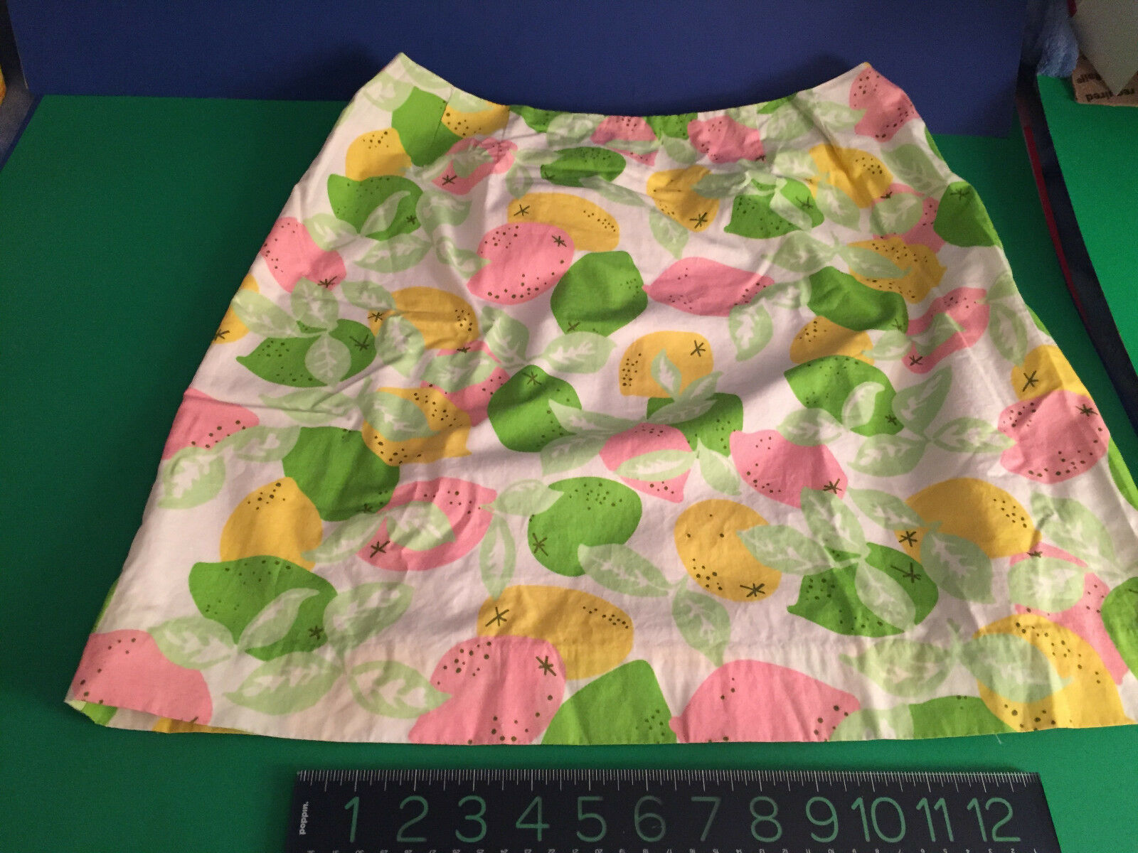 VINTAGE Classic Lily Pulitzer PINK GREEN WHITE YELLOWPrint cotton skirt SIZE 10
