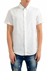 ajuste clásico descuento más bajo más de moda Detalles de Versace Jeans Hombre Manga Corta Blanca Camisa Informal Eu S It  48