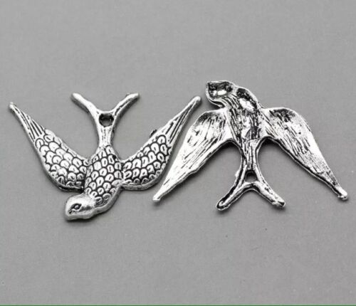 Tibetan Silver Charm Bird Swallows Pendant Jewellery Making 24x18mm-10 Pcs.
