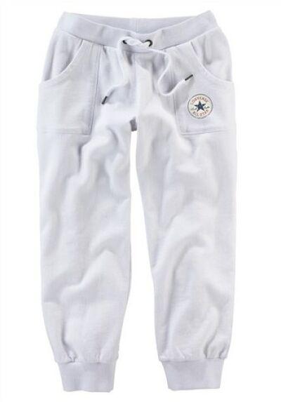 Converse Sweathose Damen Capri Weiß Fitness 3/4 Pants Jogging Laufen All Star