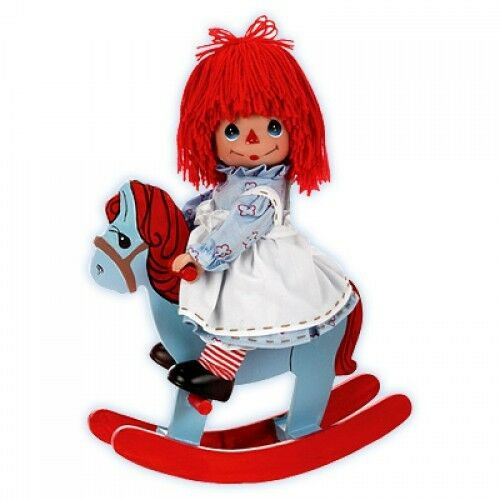 "Precious Moments Rockin/' Raggedy ANN 9/"" Vinyl Doll Wood Rocking Horse NEW"