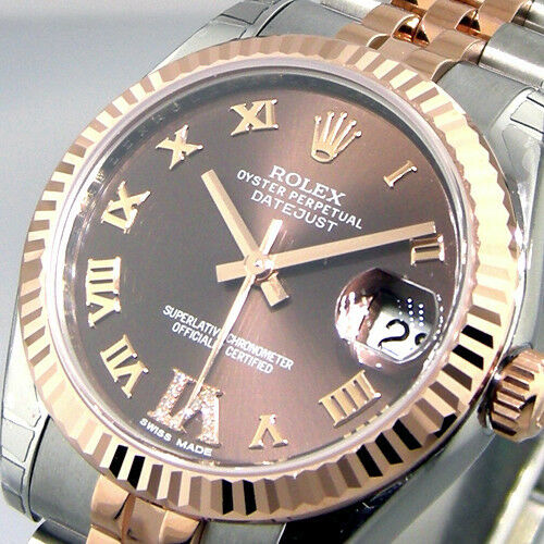 Rolex Datejust Steel 18k Rose Gold Automatic 31 Mm Black Watch 178271 G Serial